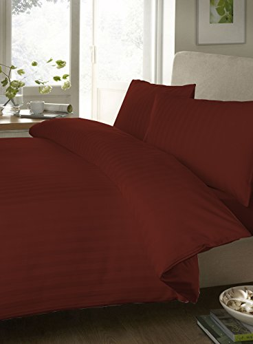 Egyptian Cotton Sheet Set 300 Thread Count Stripe (Standard-Size Pillowcases , Brick Red) By Bedding Spa front-553480