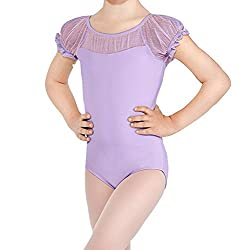 BHL Girls Dance Leotard 3-12 Years Lace Short Sleeve (8-10, Purple)