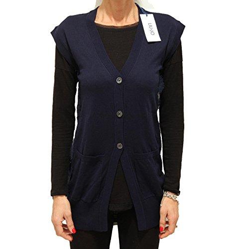 4941F cardigan smanicato blu LIU JO JEANS COTONE maglia maglione donna sweater s [S]