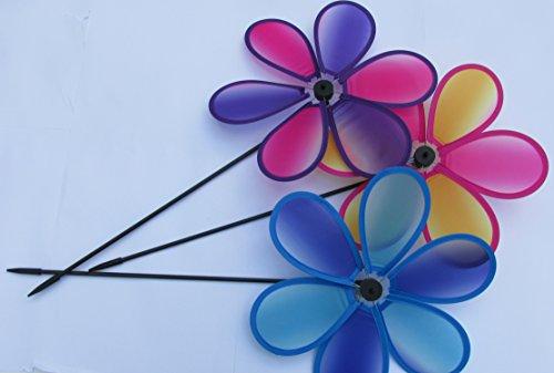 "Prismatic Flower Pinwheel 6 Petal 10"" pinwheels,color may vary"