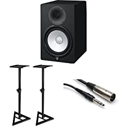 Yamaha HS8 Active Monitors (Pair) with TRS XLR-Male Cables and Speaker Stands