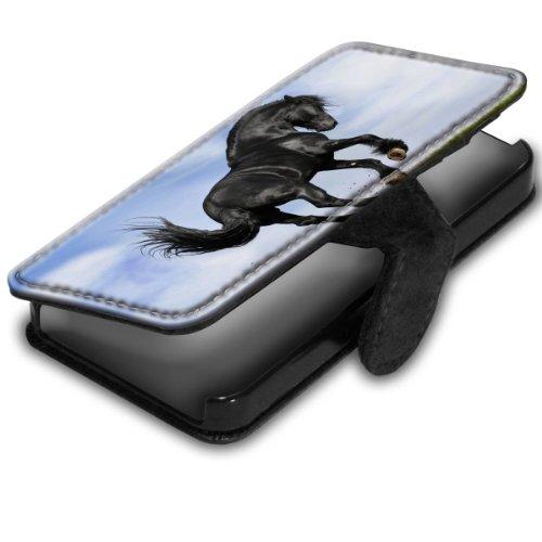 Pferde 10003, Schwarzes Pferd, Schwarz Leder Hülle Fall Ledertasche Handyschutzhülle Klappetui für Handy mit Magnetverschluss und Farbig Design für Apple iPhone 4 / 4S