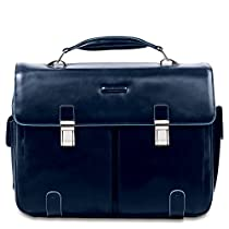 Piquadro Leather Case with 2 Front External Pockets, Dark Blue, One Size