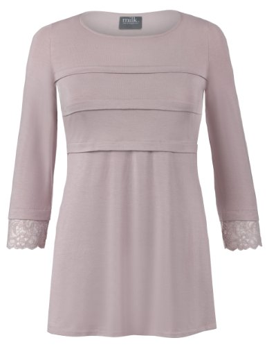 Milk Nursingwear Tiered Nursing Top With Lace Trim-M-Blush