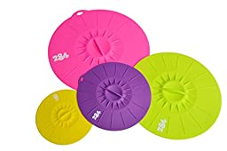 Premium Lily Pad Silicone Lid 4pc Set - 284 LIVING TM - Suction Lids Food Saver Container Covers - (Set of 4 sizes. Small, Medium, Large and XLarge) (Multi-Color B)