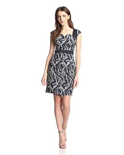 Adrianna Papell Women's Square Neck Fabric Block Sheath Dress