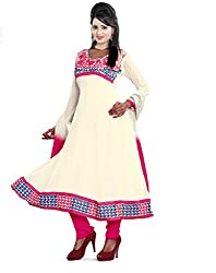 Parinaaz fashion White Faux Georgette Unstitched Dress Material
