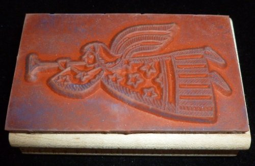 Flying Angel With Trumpet Rubber Stamp - 1