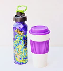 Yoga Lover Hot and Cold Beverage Set PBA Free Aluminum Water Bottle with Carabiner 20 oz and Insulated Hot Beverage Cup with Sleeve 16 oz