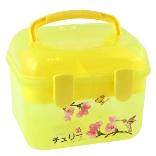 Plastic Double Layers Components Storage Case Clear Yellow