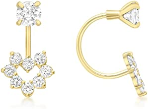 Carissima 9ct Yellow Gold Cubic Zirconia Heart Double Stud Earrings