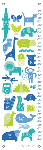 Oopsy Daisy ABC Animalia Blues by Ampersand Design Studio Growth Charts, 12 by 42-Inch