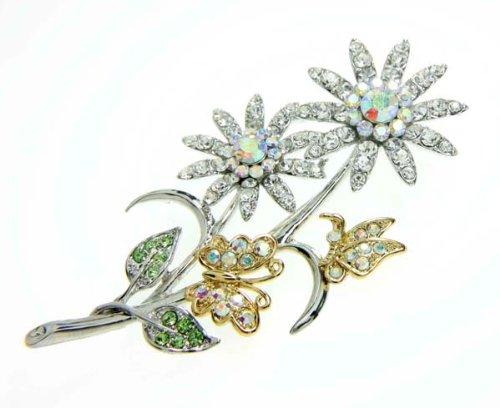 Crystal Clear / Peridot / Multi Color Crystal Flower Stem Brooch / Pin
