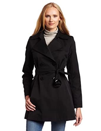 Via Spiga Women's Fall Rain Scarpa Trench Coat, Black, X-Large