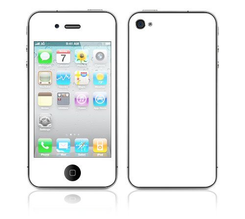 Solid State White Design Protective Skin Decal Sticker for Apple iPhone 4 16GB 32GB