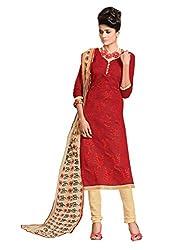 SR Women's Cotton Unstitched Dress Material (Maroon Top Chiku Bottom Duptta )