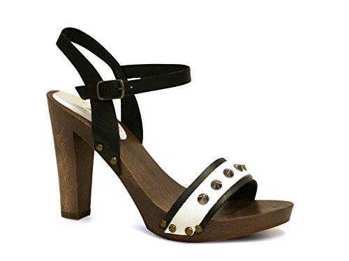 Sandali tacco in legno alto in pelle nero/bianco - Codice modello: 100 NERO/BIANCO - Taglia: 37 IT
