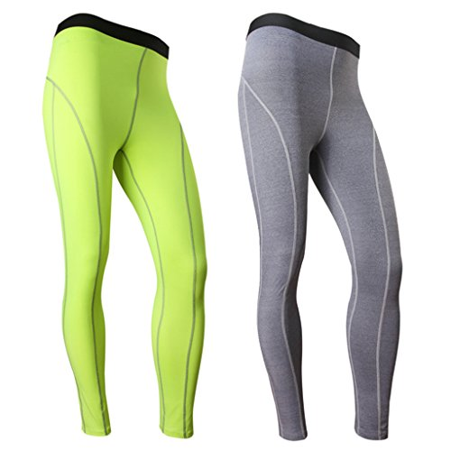 Funycell Men's Compression Tight Pants Athletic Running Leggings 2 Pack Green Grey US L (Insulated Biking Pants compare prices)