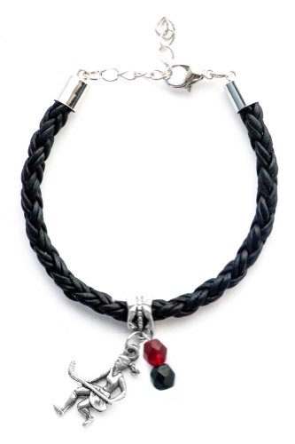"""Field Hockey Girl"" Braided Leather Field Hockey Bracelet (Team Colors Maroon & Black)"