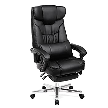 SONGMICS Extra Big & Tall Office Chair Ergonomic Executive Gaming Swivel Chair with Foldable Headrest and Pull-out Footrest PU Leather Extra Large Black, Original Design UOBG75B