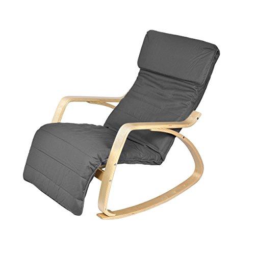 Harima - Sedia a dondolo modello Colmar, reclinabile, con rivestimento lavabile in cotone e poggiapiedi regolabile integrato, colore: grigio