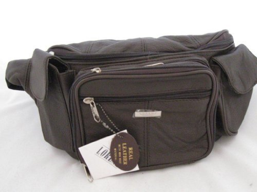 Extra Large Leather Bumbag Bum bag Wasit Travel Document Organiser Bag with lots compartments in Black, Tan, Fawn, Brown or Navy (Brown)