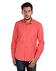 Oxemberg Men's Solid Casual Coral Shirt