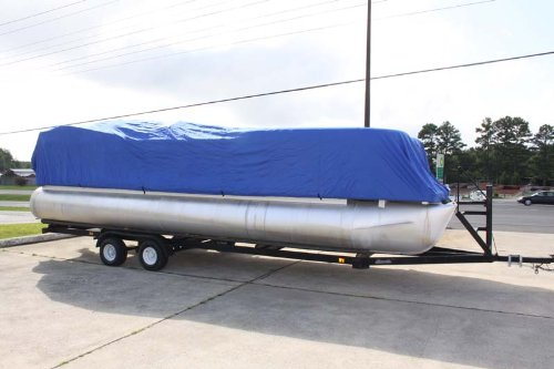 BRAND NEW ULTRA PONTOON BOAT COVER, BEST AVAILABLE, TRI-PURPOSE, FOR STORAGE, MOORING, OR TRAILERING, HAS ELASTIC AND STRAPS FITS 17 18 19 20 FT LONG PLAYPEN AREA BLUE
