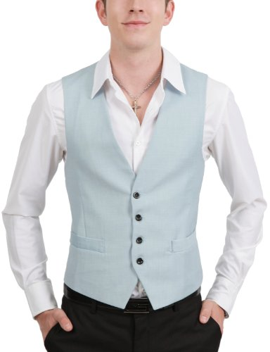 9Xis Mens Casual Slim Fit Button Vest SKY XL (9MV001)