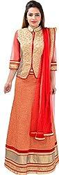 Panchi Women's Red Net Lehenga (P-Mohini-1206)