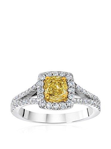 Bouquet 1-1/5 Carat Fancy Yellow Cushion Diamond/18K White Gold Ring