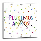 InspirationzStore Many Different Languages - Plurimos annos. Happy Birthday in Latin colorful rainbow text confetti - 10x10 Wall Clock (dpp_202044_1)