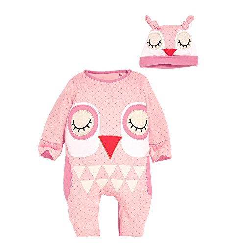 Flowerbb Baby Girl's 2 Set in 1 Cartton OWL Bodysuit+ Hat 40