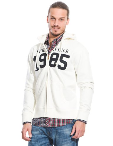 Springfield Men's Open Long-sleeved Hooded Sweatshirt with Kangaroo Style Pocket and Elasticated Cuffs and Waistband, L, off-white