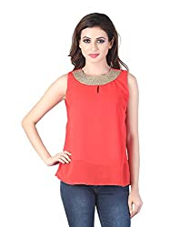 Stylish Peach Georgette with Golden Neckline by Bfly