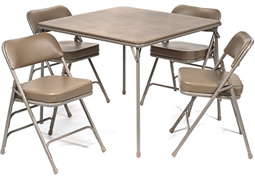 5 Piece Extra Large Folding Card Table and Ultra Padded Chair Set - Commercial Quality (Beige) (Padded Folding Table compare prices)