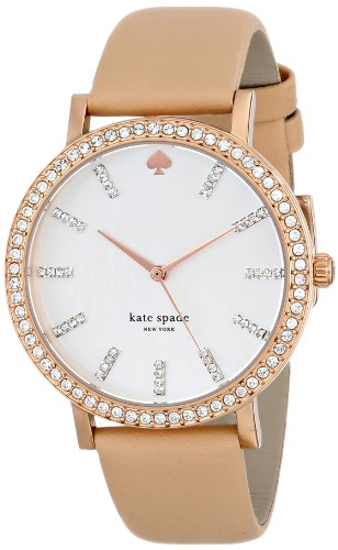 kate spade new york Women's 1YRU0446 Metro Crystal-Accented Rose Gold Ion-Plated Watch with Beige Leather Band