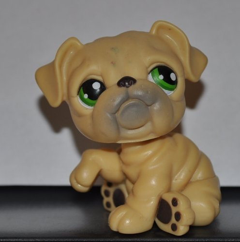 Bulldog #107 (Puppy Dog,Tan, Green eyes) 2004 Littlest Pet Shop (Retired) Collector Toy - LPS Collectible Replacement Single Figure Loose (OOP Out of Package) (Lps Bulldog Puppy compare prices)