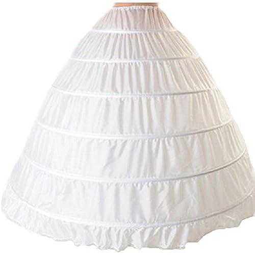 셀프웨딩 파티드레스 [FERE8890] 레이디스 파니에 볼륨 염가 어른 와이어6개 있음 6단 코스튬용 소품 드레스용 속옷 조정 할 수 있는 신부 웨딩 페티코트 간이식 결혼식 발표 연주 발레 (Size:Free|Color:화이트)