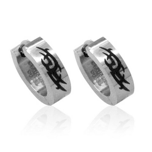 Extravaganza 344010001 Unisex Stainless Steel Creole Earrings