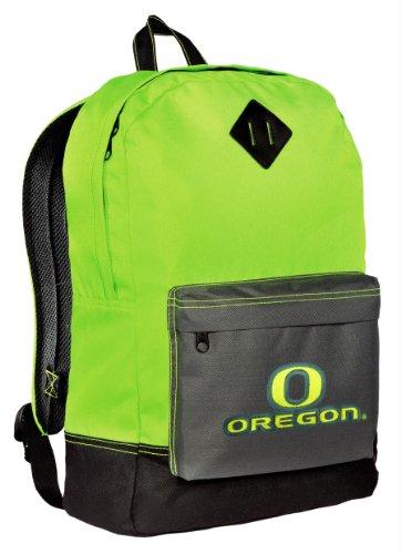 University Of Oregon Neon Green Backpack Uo Ducks Medium Size Ncaa Logo Stylish Neon Color School Bags