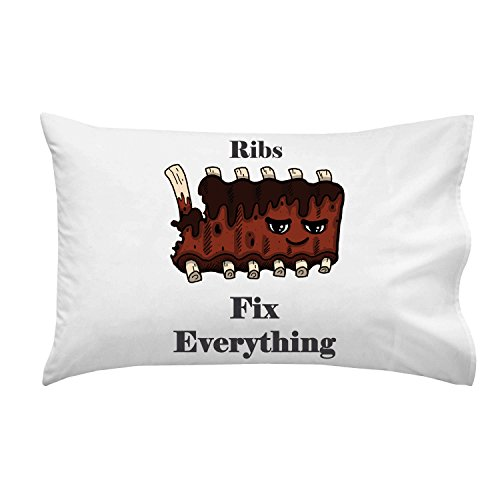 """Ribs Fix Everything"" Food Humor Cartoon - Pillow Case Single Pillowcase"