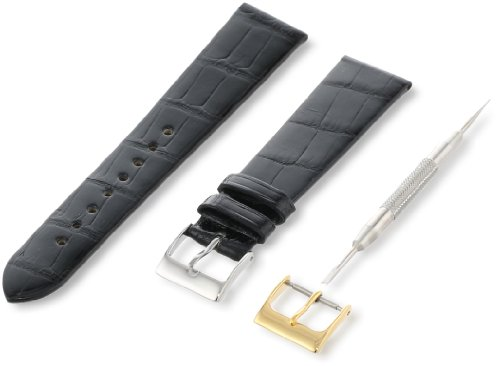 Artisan of Italy AITG500-0120MR Men's Classic Ultra-Thin Alligator 20mm Black Watch Strap