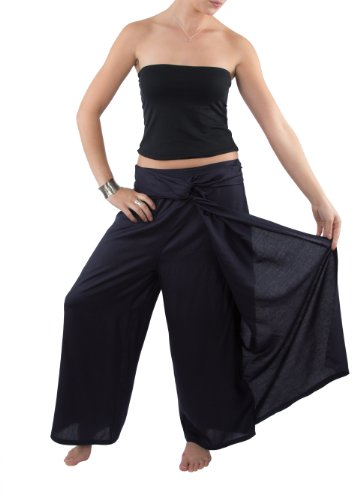 Wide Leg Palazzo Pants Front Knot Detail Navy L/XL