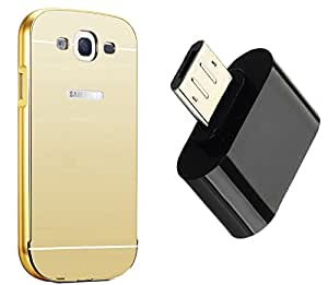 Novo Style Back Cover Case with Bumper Frame Case for Samsung Galaxy E7 Golden + Little Adapter Micro USB OTG to USB 2.0 Adapter for Smartphones & Tablets