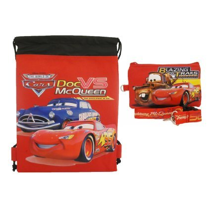 Disney Car Red Drawstring Bag and Lanyard - 1