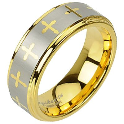 8Mm Brushed And High Polished Two Toned Gold Plated Cross Design Tungsten Carbide Wedding Band - Size 12
