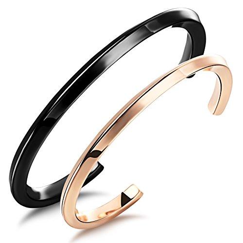 Aituo gioielli da uomo donna Unico Design Bracciale Classy coppie bracciale, acciaio inossidabile, colore: Black & Rose Gold (A Pair)1, cod. AT-Unisex