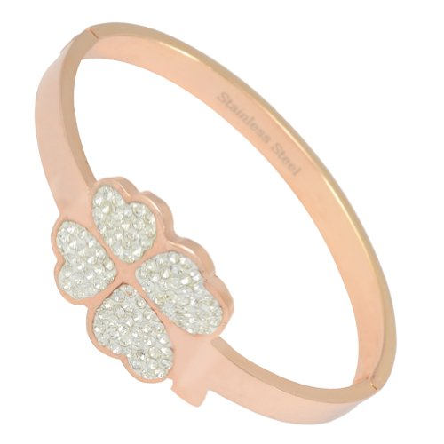 Kadima Stainless Steel Bangle Rose Gold IP Plated With Clear Gemstone