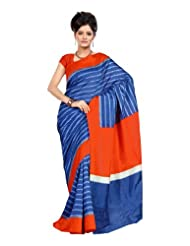 Dealtz Fashion Blue Colored Raw Silk Printed Saree